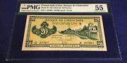 French Indochina 20 Piastres 1942-45 P 70 Pmg 55 Lemon Yellow Color Very Rare