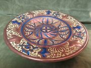 Hand Decorated Spain Blue And Copper Lustre Ethan Allan Large Charger Plate Dish