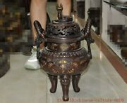 Old Chinese Buddhism Temple Copper Bronze Animal Dragon Loong Incense Burner