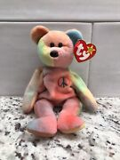 Extremely Rare 1996 Ty Peace Beanie Baby With Double Tag Errors