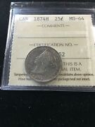 1874h Iccs Graded Canadian 25 Cent Ms-64