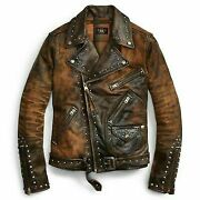 Menand039s Leather Jacket Brown Black Punk Full Silver Spiked Studded Zippered Jacket