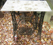 Antique Singer Sewing Machine Cast Iron Patio Plant Garden Marble Table Stand Us