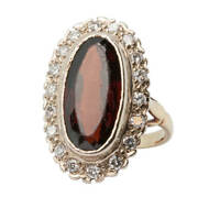 18ct Gold Large Garnet And Diamond Cluster Ring Small Size