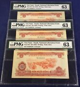 Vietnam South 50 Dong 1968 Pick R8 Pmg 63 Set Of 3 Consecutive Series Numbers