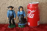 Cast Iron Hand Painted Amish Man And Woman Figures Mennonite Plain People