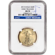 2013 American Gold Eagle 1/2 Oz 25 - Ngc Ms70 Early Releases