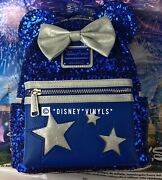 New 2020 Disney Parks Loungefly Sorcerer Mickey Blue Sequin Mini Backpack