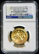 2012 Isle Of Man High Relief 1oz Proof Gold Angel Piefort Ngc Pf69 Oc45