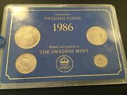 1986 Sweden 4-coin Mint Set - Extremely Rare 967 English Hard Plastic Case