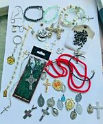 Large Vintage Religious Lot Rosaries Necklaces Pendants Key Chains Pins Italy