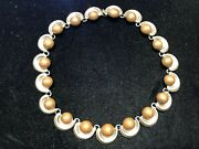 Vintage Taxco Mid-century Sterling Silver And Copper Necklace