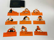 Vintage Halloween Rare Partial Set 9 Of Rustcraft Place Cards In Box Nice