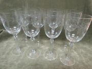 Vintage 1940's Fostoria Glass Holly Cut Tall Water Goblet Lot Of 8 Stems Crystal