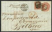 1851 10d Embossed And 1d Red Ge London To Bilbao Vgu Cat. Andpound3000.00