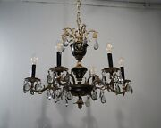 Antique Vintage Bronze French Empire 6 Light Chandelier Smoke Crystals Lamp