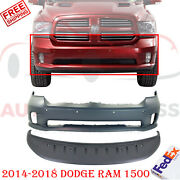 Front Bumper Cover Primed + Lower Valance Textured For 2014-2018 Dodge Ram 1500