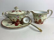 Vintage Noritake Creamer/milk Jug And Covered Sugar Bowl With Accent Plate/spoon