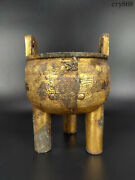 8collection China Shang And Zhou Dynasties Bronze Gilding Carving Tripod