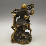Chinese Antique Brass Old Man And Deer Home Furnishings Decoration Qianlong Year