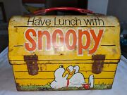 1968 Vtg Have Lunch With Snoopy Metal Dome Lunchbox With Thermos Peanuts Orig