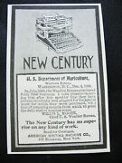 1899 New Century Typewriter Print Adus Dept.of Agriculture Purchased 40 In July