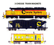 Chessie System Cando Sd40 Coal Hopper And Caboose 3 Magnets Andy Fletcher