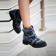 Punk Buckle Motorcycle Womens Low Heels Real Suede Leather Oxfords Ankle Boots