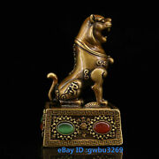 Vintage Old Chinese Pure Brass Handwork Tiger Statues Inlaid Zircon Seal