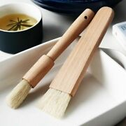 2pcs/set Kitchen Oil Basting Brush Wood Handle Bbq Grill Pastry Cooking Utensils