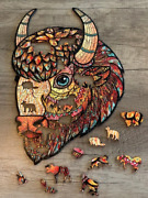 Puzzle Jigsaw 214pieces Wooden New Russian Eco American Bison Gift Toy Child