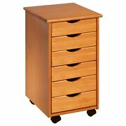 Rolling File Cabinet Wood Storage Cart With Wheels Mobile Filing 6 Drawer Pine