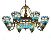 Baroque Style Stained Glass Chandelier Living Room Ceiling Pendant Light