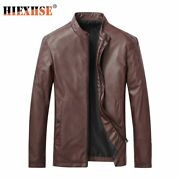 Men Jacket Leather Pu Motorcycle Lapel Straight Hem Slim Simplicity Middle Lengt