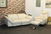 Galaxy Sanza Cream Leather Electric Power Recliner 2 Seater Sofa And Swivel Chair