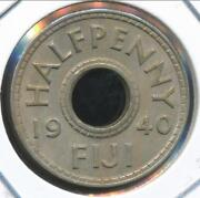 Fiji 1940 1/2 Penny 1/2d George Vi - Almost Uncirculated