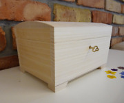 Unfinished Wooden Box With Key | Wooden Jewelry Box Locked With Key For Decoupag