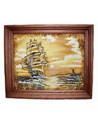 Amber Painting Sea Ship Made From Amber Chips Interior Decoration