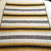 Vintage Frank's Textiles Brown Tan Grey Mexican Blanket With Fringes