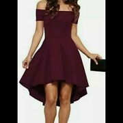Leo Rosi High-low Off Shoulder Wine Colored Dress-new With Tags