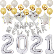 Happy New Years Eve Party Supplies 2021 Silver Balloon Decorations Kit,r Letter