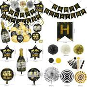 2021 Gold Happy New Years Eve Decorations Set, Happy New Year Banner Latex Ball