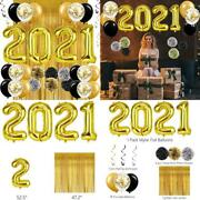 New Years Eve Decorations, Gold White And Balloons Sets, Paper Pom Poms With Go