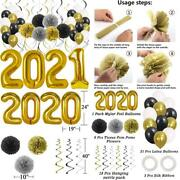 New Years Eve Party Supplies 2021 Decorations Kit, Gold White And Balloons Sets