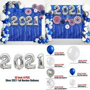 New Years Eve Party Decorations 2021,navy Blue And Silver Balloons Kit/2021 Ball