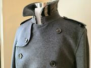 Nwt Mens Wool/cashmere Long Belted Coat Jacket Gray Eu54 Us Xl
