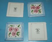 4 Tiles Hand Painted Ceramic Tile Alecia Keen Rose Stripe Thailand Coasters 4x4
