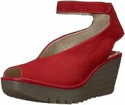 Fly London Womenand039s Yala Perforated Wedge 6.5-7 Lipstick Red Cupido/mousse
