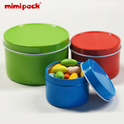 Set Of 24 Mimipack Round Top Lid Metal Tinplate Boxes Decorative Coffee Canister
