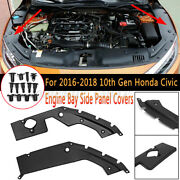 For Honda Civic Engine 2016-19 10th Gen Bay Side Panel Covers Pair- Long Version